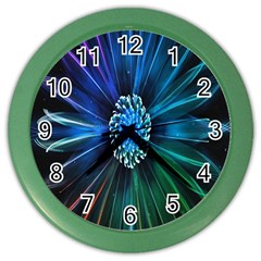 Flower Stigma Colorful Rainbow Animation Space Color Wall Clocks by Mariart