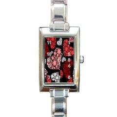Floral Flower Heart Valentine Rectangle Italian Charm Watch