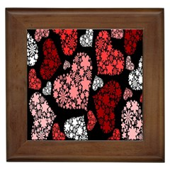 Floral Flower Heart Valentine Framed Tiles by Mariart