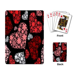 Floral Flower Heart Valentine Playing Card by Mariart