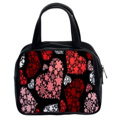 Floral Flower Heart Valentine Classic Handbags (2 Sides)