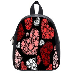 Floral Flower Heart Valentine School Bag (small) by Mariart