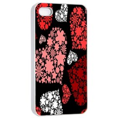 Floral Flower Heart Valentine Apple Iphone 4/4s Seamless Case (white) by Mariart