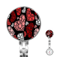 Floral Flower Heart Valentine Stainless Steel Nurses Watch by Mariart
