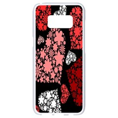 Floral Flower Heart Valentine Samsung Galaxy S8 White Seamless Case by Mariart
