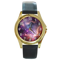 Galaxy Space Star Light Purple Round Gold Metal Watch by Mariart