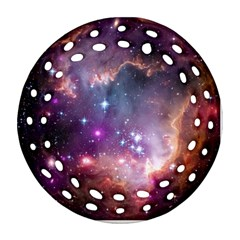 Galaxy Space Star Light Purple Round Filigree Ornament (two Sides) by Mariart