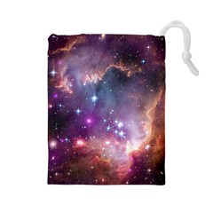 Galaxy Space Star Light Purple Drawstring Pouches (large)  by Mariart