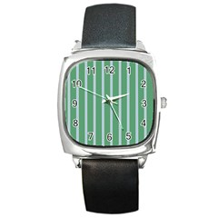 Green Line Vertical Square Metal Watch by Mariart