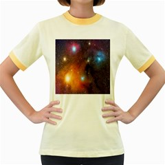 Galaxy Space Star Light Women s Fitted Ringer T Shirts