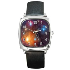 Galaxy Space Star Light Square Metal Watch by Mariart