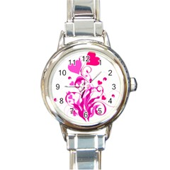 Heart Flourish Pink Valentine Round Italian Charm Watch by Mariart