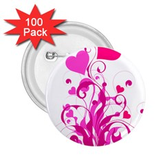 Heart Flourish Pink Valentine 2 25  Buttons (100 Pack)  by Mariart