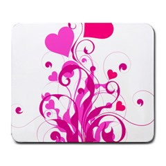 Heart Flourish Pink Valentine Large Mousepads by Mariart