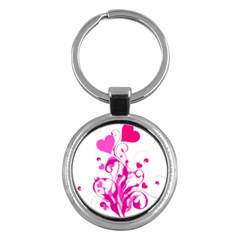 Heart Flourish Pink Valentine Key Chains (round)  by Mariart