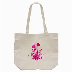 Heart Flourish Pink Valentine Tote Bag (cream) by Mariart