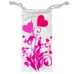 Heart Flourish Pink Valentine Jewelry Bag by Mariart