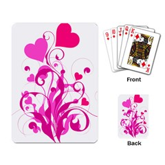 Heart Flourish Pink Valentine Playing Card by Mariart