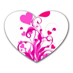 Heart Flourish Pink Valentine Heart Mousepads by Mariart