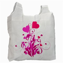 Heart Flourish Pink Valentine Recycle Bag (two Side)  by Mariart