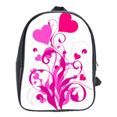 Heart Flourish Pink Valentine School Bag (large)