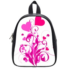 Heart Flourish Pink Valentine School Bag (small) by Mariart