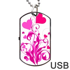 Heart Flourish Pink Valentine Dog Tag Usb Flash (two Sides) by Mariart