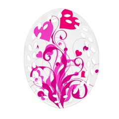 Heart Flourish Pink Valentine Oval Filigree Ornament (two Sides) by Mariart