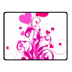 Heart Flourish Pink Valentine Double Sided Fleece Blanket (small)  by Mariart