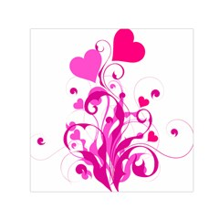 Heart Flourish Pink Valentine Small Satin Scarf (square) by Mariart