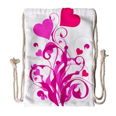 Heart Flourish Pink Valentine Drawstring Bag (large) by Mariart