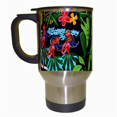 Hawaiian Girls Black Flower Floral Summer Travel Mugs (white) by Mariart