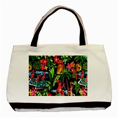 Hawaiian Girls Black Flower Floral Summer Basic Tote Bag by Mariart