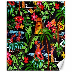 Hawaiian Girls Black Flower Floral Summer Canvas 8  X 10  by Mariart