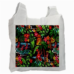 Hawaiian Girls Black Flower Floral Summer Recycle Bag (two Side)