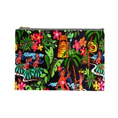 Hawaiian Girls Black Flower Floral Summer Cosmetic Bag (large)