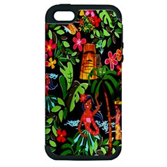 Hawaiian Girls Black Flower Floral Summer Apple Iphone 5 Hardshell Case (pc+silicone) by Mariart