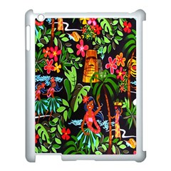 Hawaiian Girls Black Flower Floral Summer Apple Ipad 3/4 Case (white) by Mariart