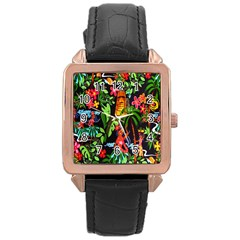 Hawaiian Girls Black Flower Floral Summer Rose Gold Leather Watch  by Mariart