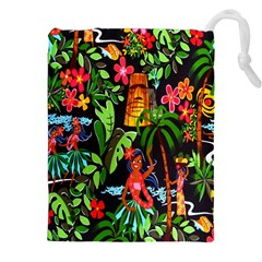 Hawaiian Girls Black Flower Floral Summer Drawstring Pouches (xxl) by Mariart