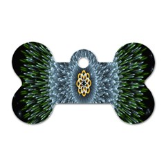 Hipnotic Star Space White Green Dog Tag Bone (one Side) by Mariart