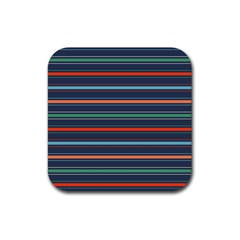 Horizontal Line Blue Green Rubber Square Coaster (4 Pack)  by Mariart