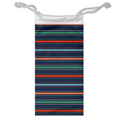 Horizontal Line Blue Green Jewelry Bag by Mariart