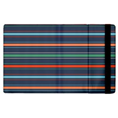 Horizontal Line Blue Green Apple Ipad 2 Flip Case by Mariart