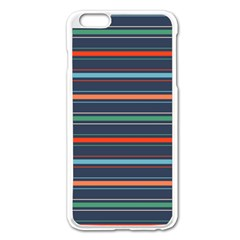 Horizontal Line Blue Green Apple Iphone 6 Plus/6s Plus Enamel White Case by Mariart