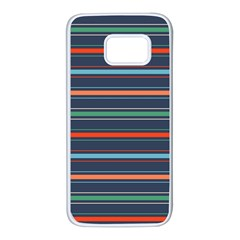 Horizontal Line Blue Green Samsung Galaxy S7 White Seamless Case by Mariart