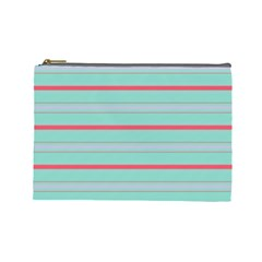 Horizontal Line Blue Red Cosmetic Bag (large)  by Mariart