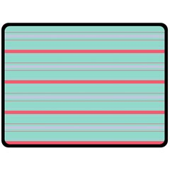 Horizontal Line Blue Red Fleece Blanket (large)  by Mariart