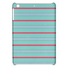 Horizontal Line Blue Red Apple Ipad Mini Hardshell Case by Mariart