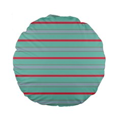 Horizontal Line Blue Red Standard 15  Premium Flano Round Cushions by Mariart
